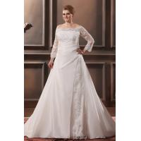 Custom Size Lace Ruffle Sweep Train Taffeta Plus Size Designer Wedding Gowns With Beaded Manufactures