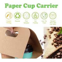 Cardboard paper coffee cup holder carrier,2 pack coffee cup drink paper carriers,Take Out 2 Pack Coffee Cup Drink Carrie Manufactures