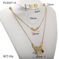 Stainless Steel Gold Plated Jewelry Set / Women Fashion Jewelry Necklaces Manufactures