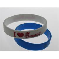 one red color filled white silicone bracelet promotional gifts adult size Manufactures