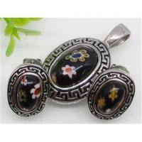 Stainless Steel Murano Black Glass Jewelry Set 1900311 Manufactures