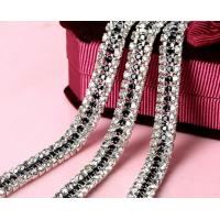 China 3MM welding three rows of dense claw jet black glass crystal cup chain on sale