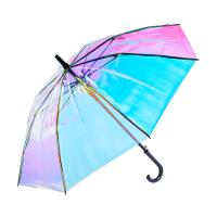 Beautiful Gradient Color Changing See Through Umbrella Shiny Rainbow Flashing Reflective Manufactures