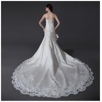 China Ladies Sweetheart Neckline Satin Wedding Dresses with cathedral train , white on sale