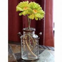 Quality Glass Vase with Metal Lid and Antique Finish for sale