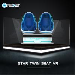 China 2 Seats Virtual Reality Game Machine / 9d Cinema Simulator Blue With White on sale