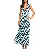 Zig Zag Summer Holiday Maxi Dresses ,Elastic Waist Maxi Dresses For Short Ladies Manufactures