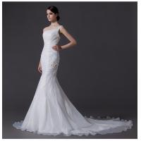 Ladies Organza mermaid One Shoulder Wedding Gowns cathedral train wedding dresses Manufactures