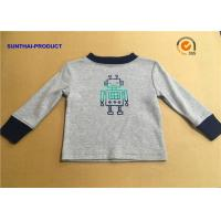 100% Cotton Children T Shirt Long Sleeve Round Neck Heather Gray SGS Certified Manufactures