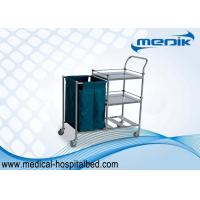China Stainless Steel Dressing Trolley Push Cart With Three Shelves One Bag on sale