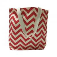 China Wave Picture Red Custom Made Canvas Bags / Tote Shopper Bag on sale