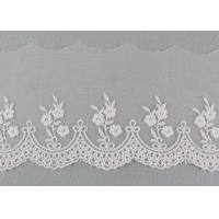 Embroidered Floral Lace Fabric Scolloped Edging Nylon Mesh Cotton Lace Bridal Ribbon Manufactures