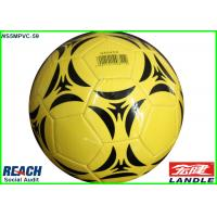 Quality PVC PU Foam Leather Soft Touch Football Soccer Ball Yellow 32 Panel for sale