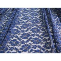 Royal Blue Cotton Nylon Gold Metallic Crochet Lace Fabric By The Yard Manufactures