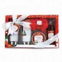 Paper Box Bath Gift Set for Christmas, Includes 155mL Shower Gel and 155mL Bubble Bath Manufactures