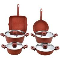 stainless steel lid red stone aluminum color cookware set 10 pcs FDA approval Manufactures