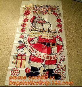 Christmas Decorative Plastic Door Covers PE Santa Celebration Plastic Posters Door posterparty disposable giant snowman