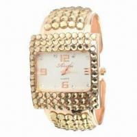 China Bangle Watches, Modern Women Bracelet Wristwatch with Gold-plated and Swarovski Crystal on sale