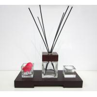 Quality 80ml Decorative Square Glass Room Fragrance Reed Oil Diffuser in Wooden Tray TS-RD01 for sale