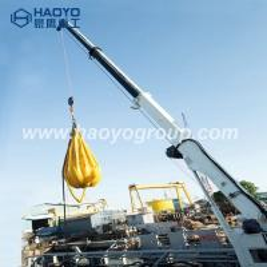 China HAOYO1T/19M 7T/10M hydraulic telescopic boom crane for ship/bulk cargo ship/barge on sale