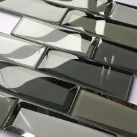 China Luxury Bevel Look Mirror Glass Subway Tile Mosaic Glass Mirror Tiles 30x30 on sale