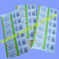 Customized Packaging Plastic Film , Transparent Barcode Self-adhesive Sticker Manufactures