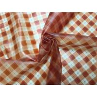 Orange Printed Grid Pattern Faux Leather Fabric For Ladies Fashion Coat 0.15mm Manufactures