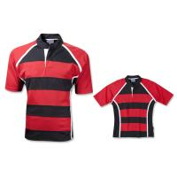 OEM Short Sleeve Mens plain striped Rugby Shirts in Black and White Manufactures