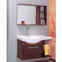 Bathroom Cabinet with Mirror, Ceramic Sink, Faucet, Plywood Carcass and Maple Solidwood Door Manufactures