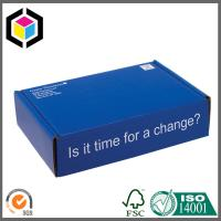 China Blue Color Custom Design Print Corrugated Cardboard Shipping Box Mailer Style on sale