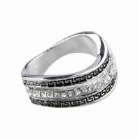 High-grade Alloy Anti-silver Plated Ring with Rhinestone/Fashionable/Latest Style and Special Design Manufactures