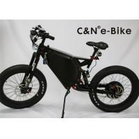 Men's Motorized Electric Fat Tire Mountain Bike With Suspension Black White Color Manufactures