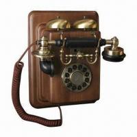 China Vintage Wall Phone with Double-gong Ringer on Top and Push Button Tone Dialing on sale