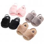 New designed cheap Faux fur soft cotton sole anti-slip prewalker outdoor baby sandals Manufactures