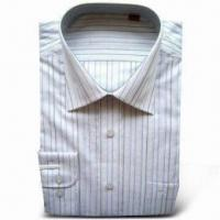 Stand Collar Shirt with Chest Pocket on the Left, Made of Combed Yarn-dyed Cotton Manufactures