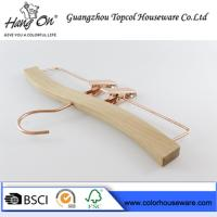 Quality Rose gold wooden hanger pants hanger trousers hanger bottom hanger for sale