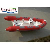 China PVC Fiberglass Rigid Hulled Inflatable Boat For Fishing 80HP Red Color on sale