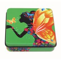 Quality Square Rectangular Tin Box with hinged lid with plastic inner and mirror for sale