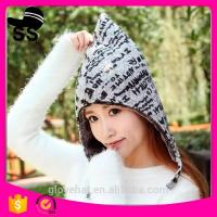 China 2017 new design china wholesale knit bomber winter earflap hats Trapper with letter 24*35cm 100% Polyester 95g thick 4 on sale