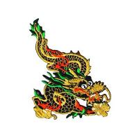 China custom Metallic Gold Chinese Dragon Iron On Patch Applique Dragons design on sale