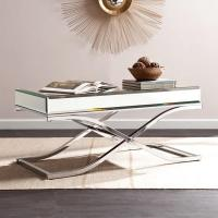 Luxury mirrored coffee table stanieless steel base glass top console table for hotel home Manufactures