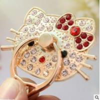 Hello Kitty Finger Ring Phone Holder Multi Angle Stand With Sparkle Crystal Cartoon Manufactures