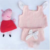 Angou INS popular baby sets European&American style pink tops+bow pants 2pcs