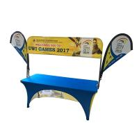 China Tradeshow Advertising Spandex Elastic Polyester table cloths with teardrop flag on sale