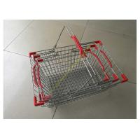 China Steel Chrome Plated Supermarket Metal Wire Hand Held Shopping Baskets With Double Handles on sale