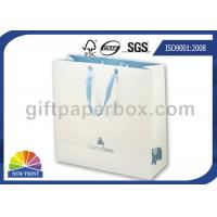 Eco friendly Recycled White Paper Kraft Bag with Ribbon Handle , Kraft Paper Shopping Bags Manufactures