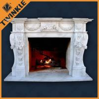 Hand Carving Marble White Fireplace Mantel For Indoor , FreeStanding Manufactures