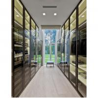 Quality Glass Wardrobe Step-in Cloakroom Brown Glass Metal Frame Glass Door Board for sale