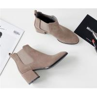 China Flat Toe Ankle Length Boots / Suede Mid Heel Chelsea Boots With Elastic Band on sale
