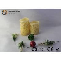 China 2pk  Carved leaves design LED Candles ,  Real Wax Electronic Candles on sale